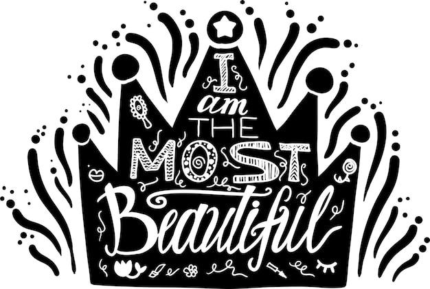Ilustração desenhada mão coroa. eu sou a mais bela das letras.