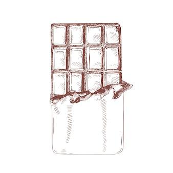 Ilustração desenhada mão da barra de chocolate desembrulhado.