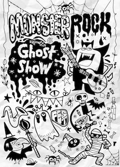 Ilustração desenhada mão da festa do rock monstro