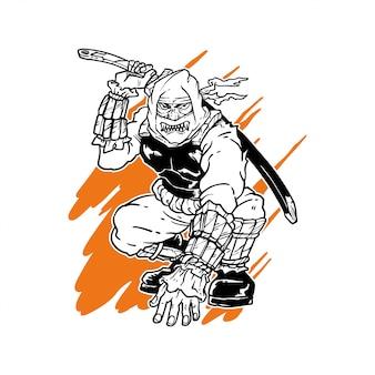 Ilustração desenhada mão de ninja