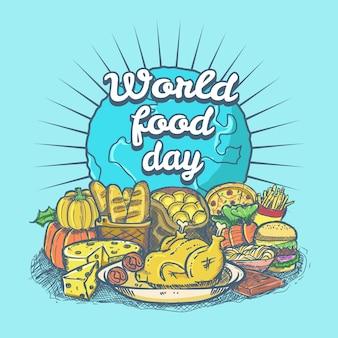 Ilustração desenhada mão do dia mundial da comida
