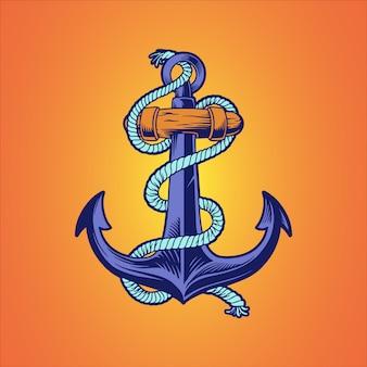 Ilustração desenhada mão náutica âncora navio