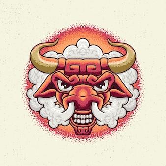 Ilustração desenho à mão com arte de linha áspera, conceito de cabeça de touros com experiência irritada
