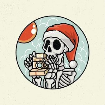 Ilustração desenho a mão com arte de linha áspera, conceito do esqueleto tire a foto com a câmera