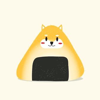 Ilustração desenho animado bola de arroz cão shiba vetor eps 10