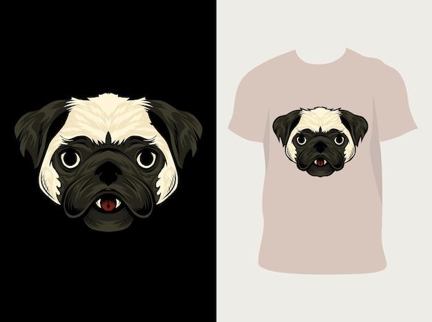 Ilustração desenho de cabeça de cachorro pug para camiseta