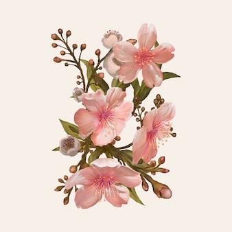 Ilustração, desenho, de, flor aquarela