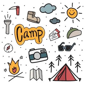 Ilustração, desenho, estilo, de, acampando, ícones, fundo