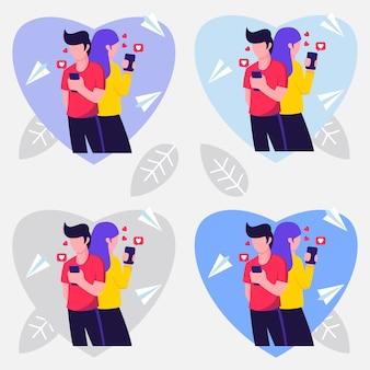 Ilustração design de amantes com variações de cor