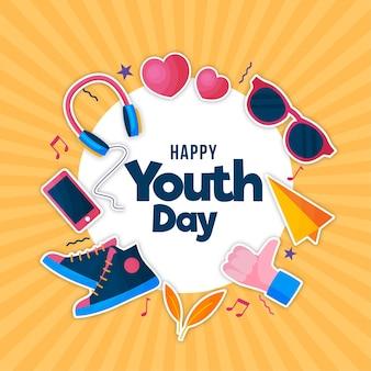 Ilustração design plano com elementos do dia da juventude