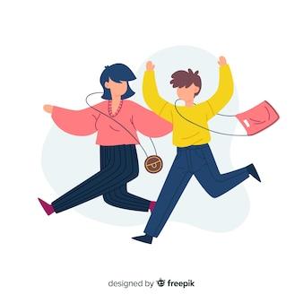 Ilustração design plano de casal feliz