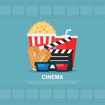 Ilustração design plano de cinema