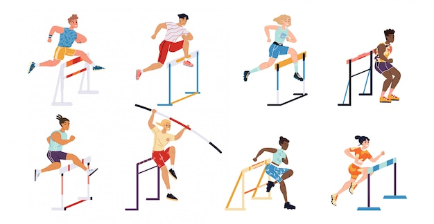 Ilustração desportistas concorrência obstáculo