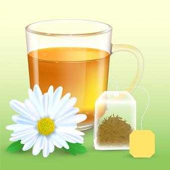 Ilustração detalhada alta de copo transparente com chá de camomila. flor de camomila realista. saquinho de chá retangular com etiqueta.