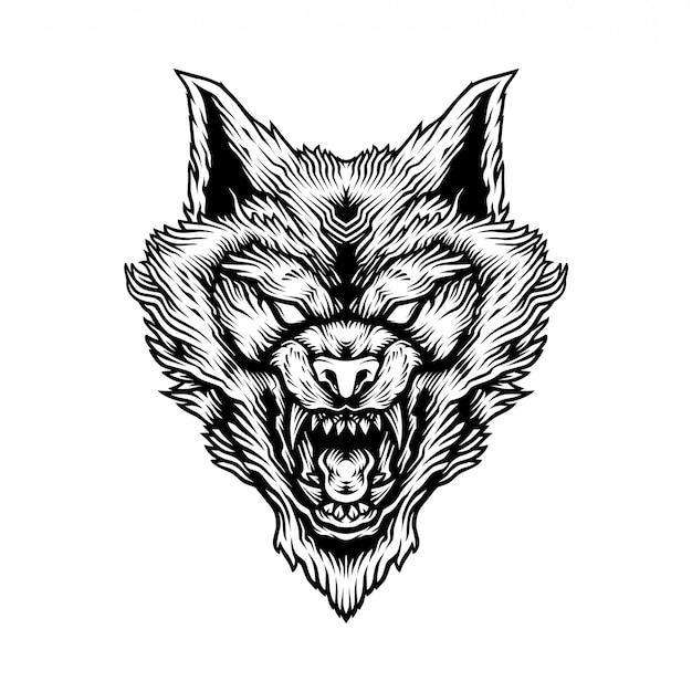 Ilustração detalhada da cabeça do lobo bravo