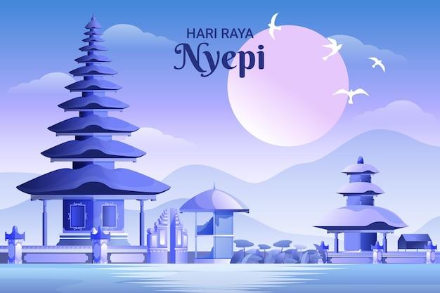 Ilustração detalhada da celebração nyepi
