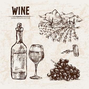Ilustração detalhada da garrafa de vinho desenhada a mão na linha de arte