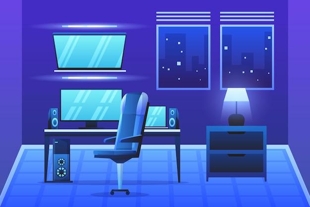 Ilustração detalhada da sala do jogador