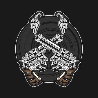 Ilustração detalhada de armas cruzadas