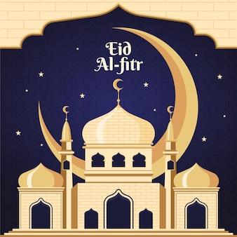 Ilustração detalhada de eid al-fitr - hari raya aidilfitri