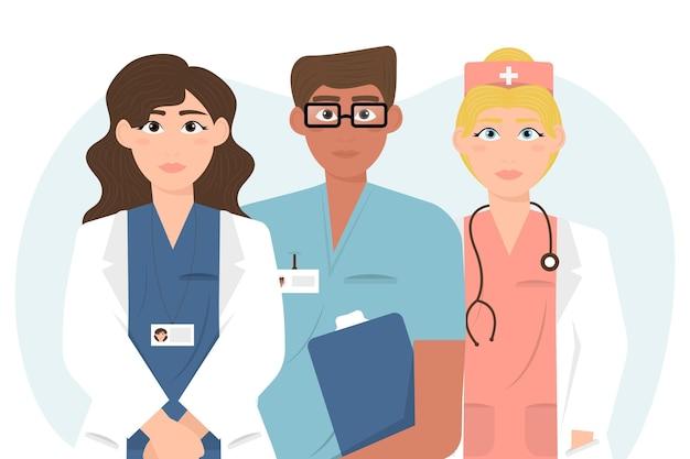 Ilustração detalhada de médicos e enfermeiras