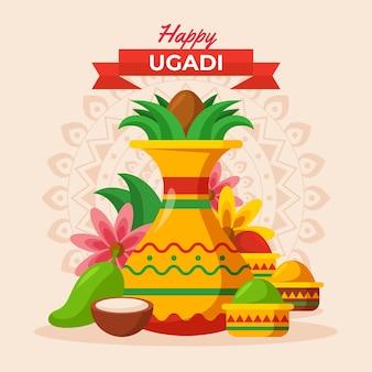 Ilustração detalhada de ugadi guirlanda