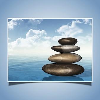 Ilustração detalhada de uma pilha de pedras no mar
