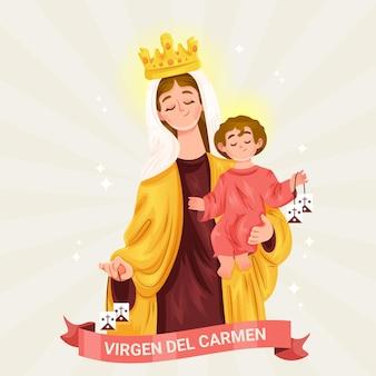 Ilustração detalhada de virgen del carmen