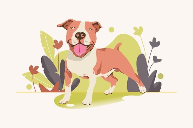 Ilustração detalhada do adorável pitbull