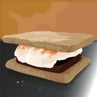 Ilustração detalhada do delicioso conjunto s'more