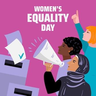 Ilustração detalhada do dia da igualdade feminina