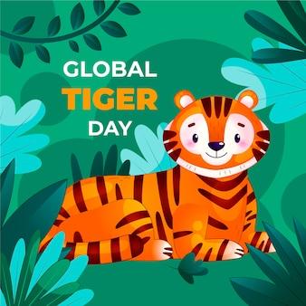 Ilustração detalhada do dia global do tigre