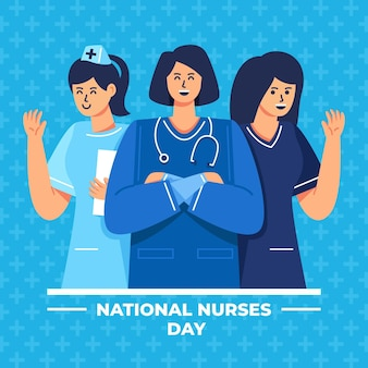 Ilustração detalhada do dia nacional das enfermeiras