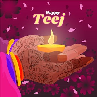 Ilustração detalhada do festival teej