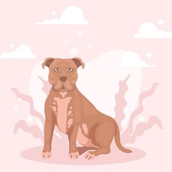 Ilustração detalhada do pitbull fofo