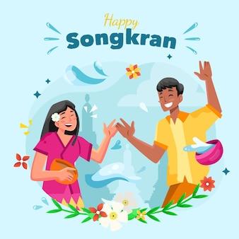 Ilustração detalhada do songkran