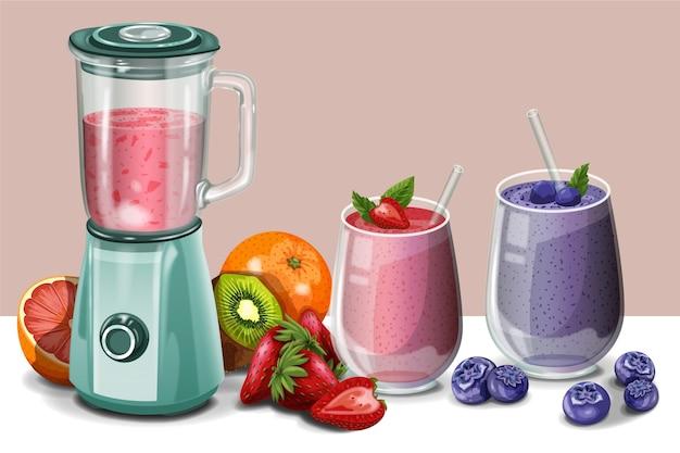 Ilustração detalhada dos smoothies no copo do liquidificador