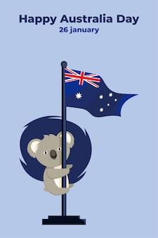 Ilustração dia da austrália com coala fofa