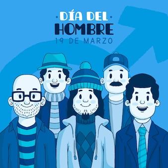 Ilustração dia del hombre com homens