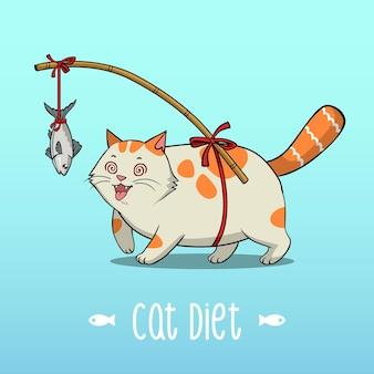 Ilustração dieta do gato gordo, gato gordo correndo para o peixe