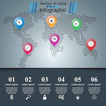 Ilustração digital 3d abstrata infográfico