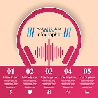 Ilustração digital 3d abstrata infographic. ícone da música.