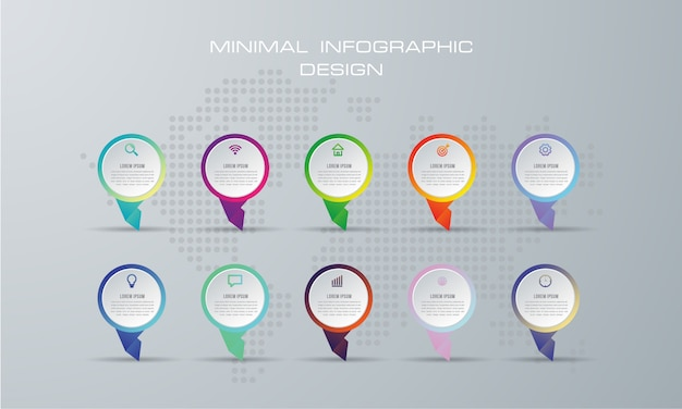 Ilustração digital 3d abstrata infographic. usado para layout de fluxo de trabalho, diagrama, opções numéricas