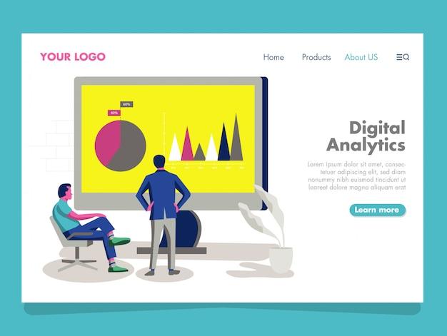 Ilustração digital analytics para página de destino