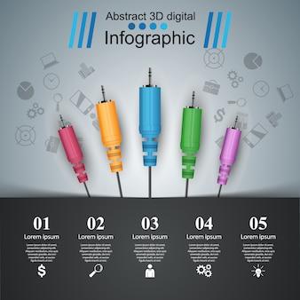 Ilustração digital da música 3d infographic.
