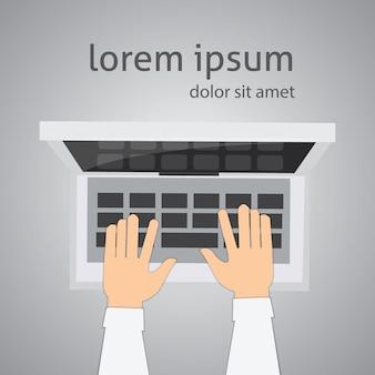 Ilustração digital de laptop e mãos de vista superior. ambiente de trabalho