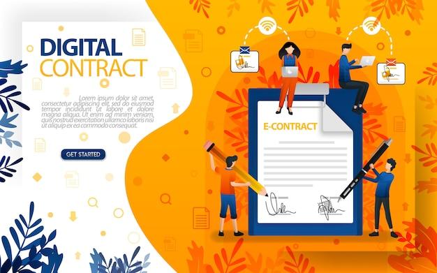 Ilustração digital de um contrato ou e-contrato com uma assinatura digital
