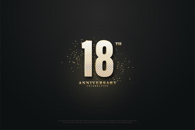 Ilustração do 18º aniversário com números brilhantes e miçangas