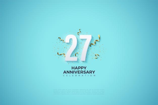 Ilustração do 27º aniversário com enfeites de festa na parte de trás dos números.