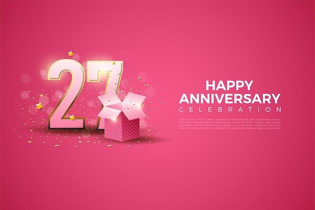 Ilustração do 27º aniversário com números e caixa de presente.